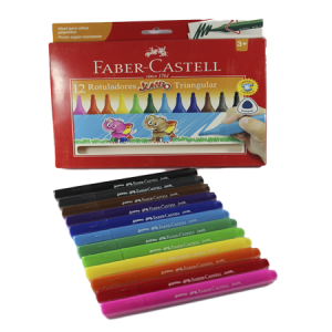 12 Rotuladores Triangular Jumbo Faber Castell
