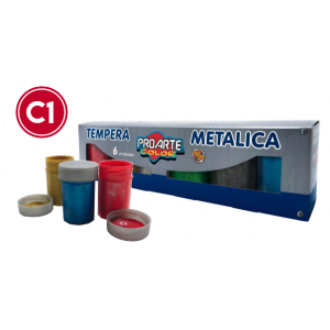 TEMPERA METALICA 6 COLORES